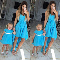 Летнее платье короче спереди для мамы и дочки family look