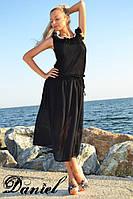Женское черное шифоновое платье  АЖ-88209