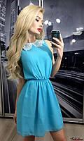 Летнее шифоновое платье с кружевным воротником АБ-88125