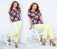 Блуза цветочная большого размера  СОР-881022 (бат)