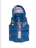 Элегантная  жилетка для мальчика синего и джинсового цвета