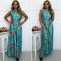 Женское Платье длинное из шелка БАТАЛ
