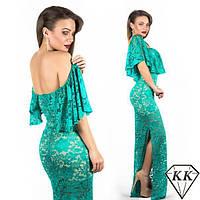 Вечернее длинное платье из гипюра СД-88545