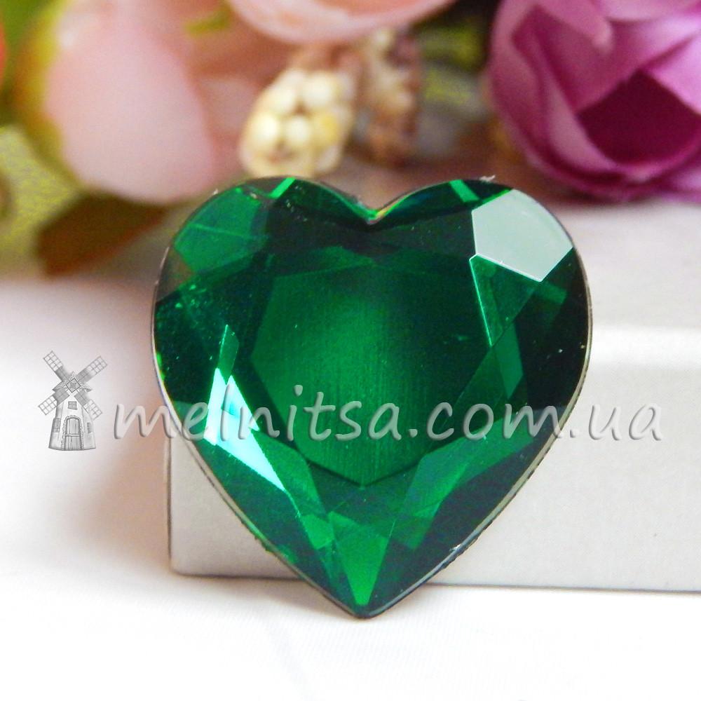 Камень клеевой сердце, 2,5 см, зеленый