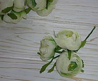 Цветок пиона бело-зеленого цвета ткань 3 шт