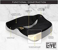 Ортопедическая подушка для сидения Better Life Memory Foam Seat Cushion, фото 1