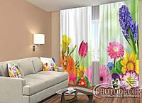 """ФотоШторы """"Цветы 6"""" 2,5м*2,6м (2 полотна по 1,30м), тесьма"""