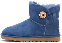 Женские UGG Mini Bailey Button (Угги Австралия) синие