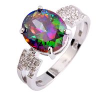 Изысканное женское кольцо с мистик топазом
