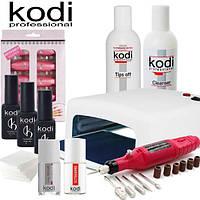 Стартовый набор для покрытия ногтей гель лаком Kodi Professional с лампой УФ 818 36 W и фрезером.