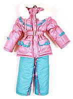 Детский зимний комбинезон для девочки на овчине Melinda голубой
