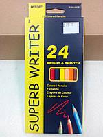 Карандаши цветные «Super Writer», 24 цвета, ТМ Marco (4100-24CB)