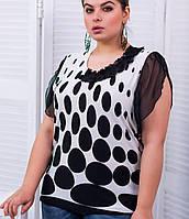 Женская блузка блузка с шифоновыми рукавами для полных (Вика tn)