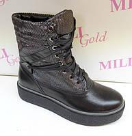 Женские черные ботинки на шнурках
