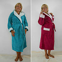 Женский длинный махровый халат  батал