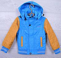 """Куртка детская демисезонная """"Sport"""" #C-68 для мальчиков. 98-122 см (3-7 лет). Голубая+горчица. Оптом."""