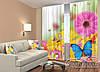 """ФотоШторы """"Яскраві гербери і метелики"""" 2,5 м*2,9 м (2 полотна по 1,45 м), тасьма"""
