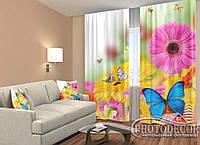 """ФотоШторы """"Яркие герберы и бабочки"""" 2,5м*2,9м (2 половинки по 1,45м), тесьма"""