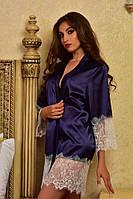 Женский сексуаьный халатик из тонкого атласа с белым кружевом Синий опт, фото 1