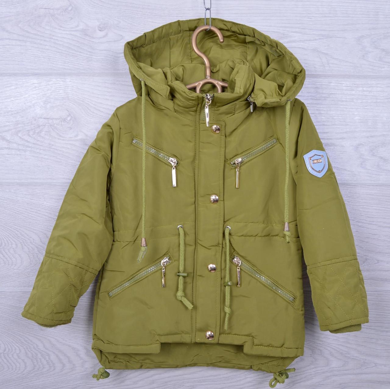 Куртка подростковая демисезонная DX-6606 для девочек. 128-146 см (8-11 лет). Хаки. Оптом.