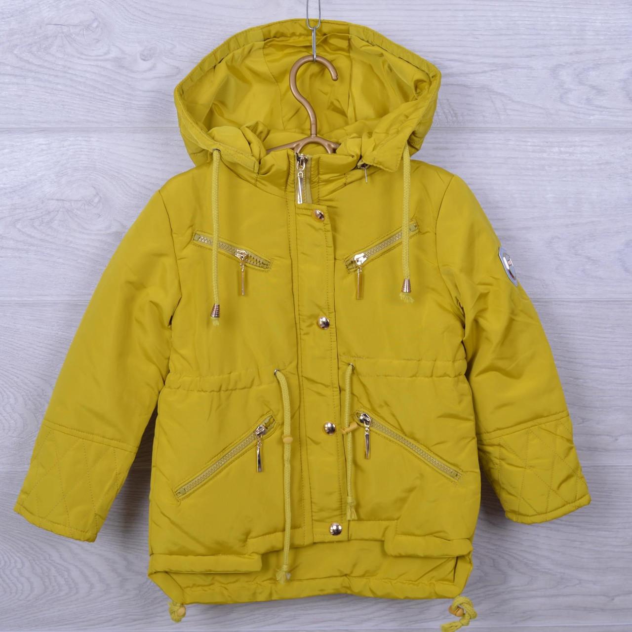 Куртка подростковая демисезонная DX-6606 для девочек. 128-146 см (8-11 лет). Горчица. Оптом.