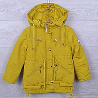 Куртка подростковая демисезонная DX-6606 для девочек. 128-146 см (8-11 лет). Горчица. Оптом., фото 1