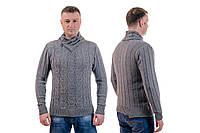 Мужской теплый шерстяной свитер с шалью