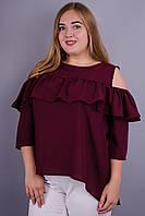 Астра. Оригинальная блуза для больших размеров. Бордо.