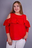 Астра. Яркая блуза для особых случаев плюс сайз. Красный.