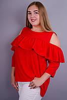 Астра. Яркая блуза для дам с пышными формами. Красный.
