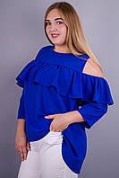 Астра. Модная блуза для дам с пышными формами. Электрик.