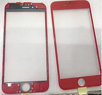 Стекло iPhone 6 (4.7), цвет красный, с рамкой