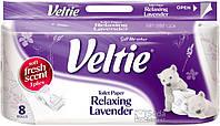 Туалетная бумага Veltie Лаванда, Белая аромат. с рис. 2х шар.  8 рул, 150 листов