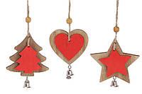 Новогоднее украшение-подвеска 8см, 3 вида, цвет - красный с натуральным деревом