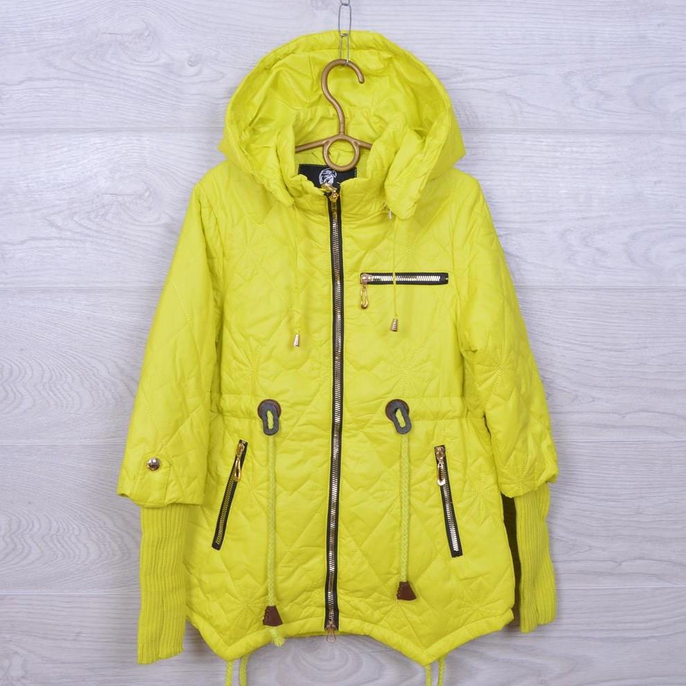 Куртка подростковая демисезонная Z-8612 для девочек. 140-164 см (10-14 лет). Желтая. Оптом.