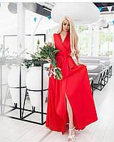 Шикарное длинное вечернее выходное платье с поясом и декольте на запах красное S M L XL, фото 1