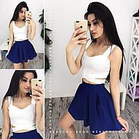 8f2f4257154 Женский комплект  юбка и топ с переплетами в расцветках. СФ-12-0717