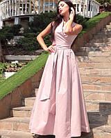 Шикарное длинное вечернее выходное платье с поясом и декольте на запах фрезовое S M L XL, фото 1