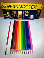 Акварельные карандаши «Super Writer», 12 цветов, ТМ Marco (4120-12CB)