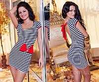 """Летнее лёгкое короткое женское платье в полоску с открытой спиной """"Морячка Бант"""", фото 1"""