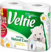 Туалетная бумага Veltie Натуральный уход, Белая аромат. с рис. 2х шар  4 рул, 310 листов