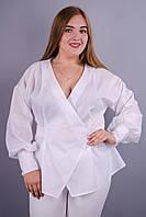 Шарм. Шикарная блуза больших размеров. Белый.