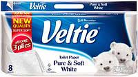 Туалетная бумага Veltie Деликатный Белий 8 рул, 162 листов