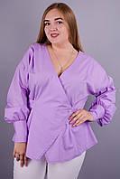 Шарм. Изысканная блуза для дам с пышными формами. Сиреневый.