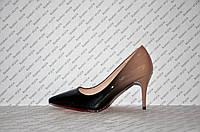 Туфли лодочки женские лаковые черные омбре на шпильке