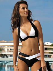 Раздельный красивый женский купальник переплеты (черно-белый) пушап, размер L