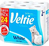 Туалетная бумага Veltie Классический Белий, 24 рул, 144 листов