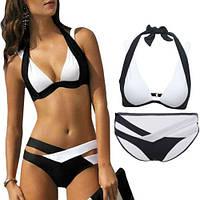 Раздельный женский купальник переплеты (черно-белый) пушап, размер XL
