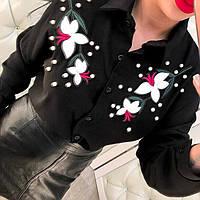 Красивая шифоновая рубашка с вышивкой из кожзама только черная