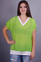 Дениз. Яркая блуза на каждый день больших размеров. Салат.